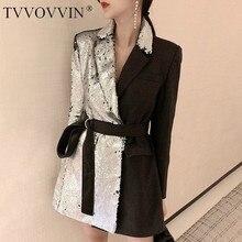 TVVOVVIN, тяжелый блейзер с блестками, пальто, женское, с отворотом, длинный рукав, бандаж, женские костюмы, повседневные,, Осенние, большие размеры, куртка E073