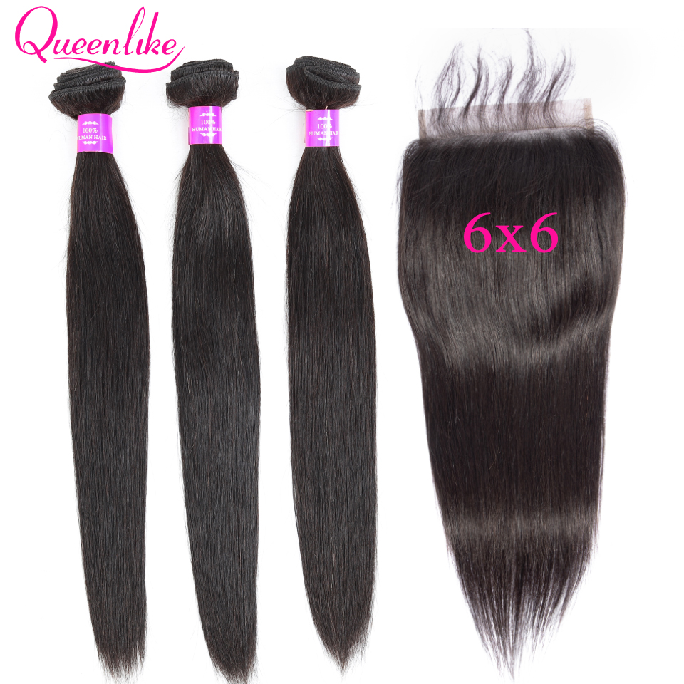 Big Size 6x6 Lace Closure And Bundles Queenlike Peruvian Non Remy Human Hair Weave Weft 3 Straight Hair Bundles With Closure