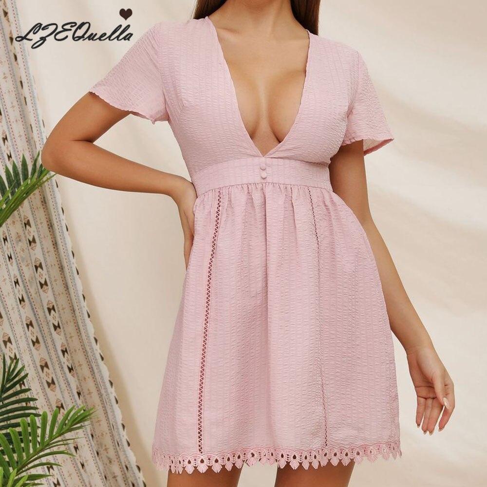 LZEQuella 2020 Summer Women V Neck Lace Patchwork Dress Ladies Solid Mini Short Sleeve Party Dresses Vestido NZ1467