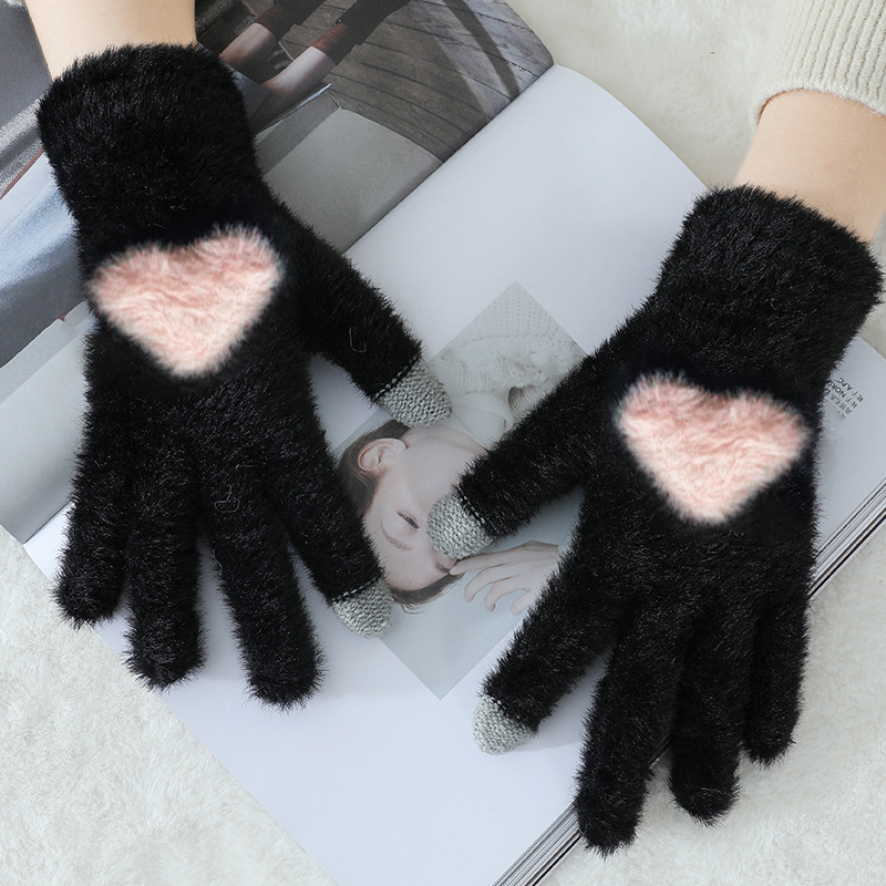 Fashion Women's Plush Knitted Gloves Winter Warm thick touch screen gloves Solid Mittens for Mobile Phone Tablet Pad Gloves