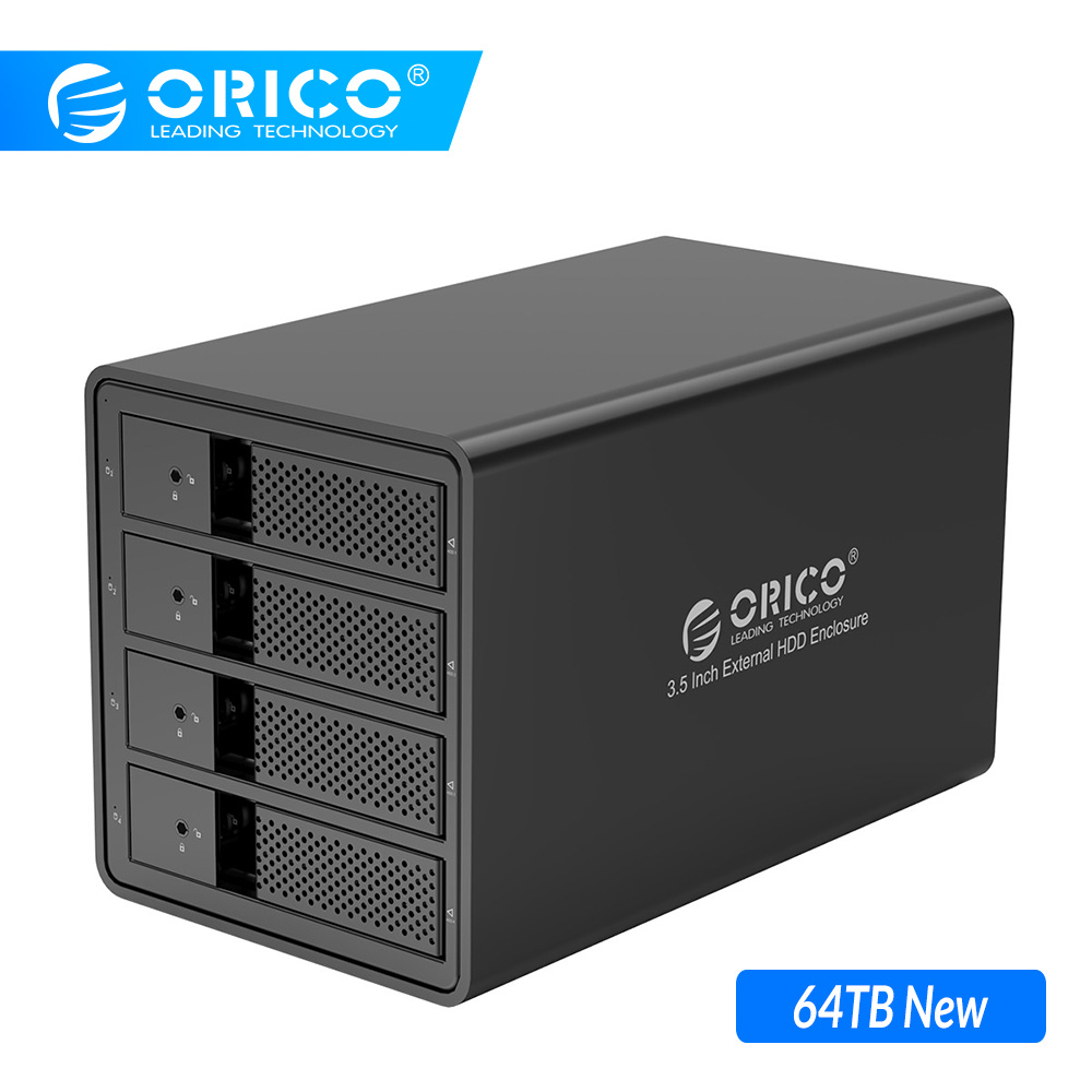 ORICO Aluminum 4 Bay 3.5'' USB3.0 HDD Docking Station Support 80TB UASP With 150W Internal Power Adaper SATA to USB 3.0 HDD Case
