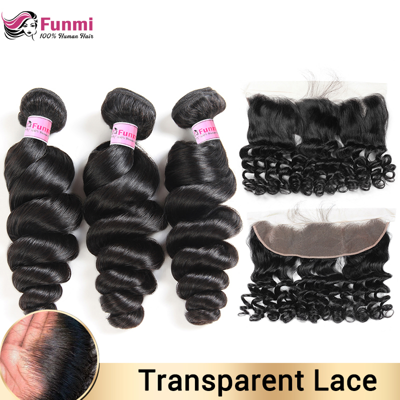 Transparent Lace Frontal With Bundles Malaysian Loose Wave Bundles With Frontal Human Hair Bundles With Frontal For Black Women