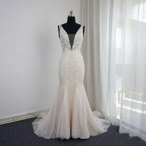 Image 3 - צולל צוואר בת ים חתונת שמלות גב תחתון פרל חרוזים שרוולים Appliqued חרוזים תמונת כלה שמלת Vestido דה Novia