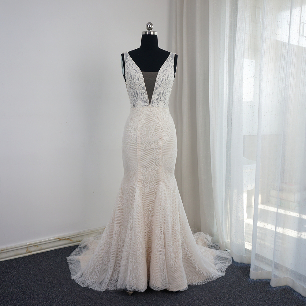 V Neck Mermaid Wedding Dresses Low Back Pearl Beaded Sleeveless Appliqued Beaded Real Photo