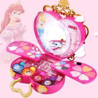 Disney Princess Makeup Box Girls Toys Predend Play Cosmetic Safe Washable Nail Polish Blush Eyeshadow Kids Makeup