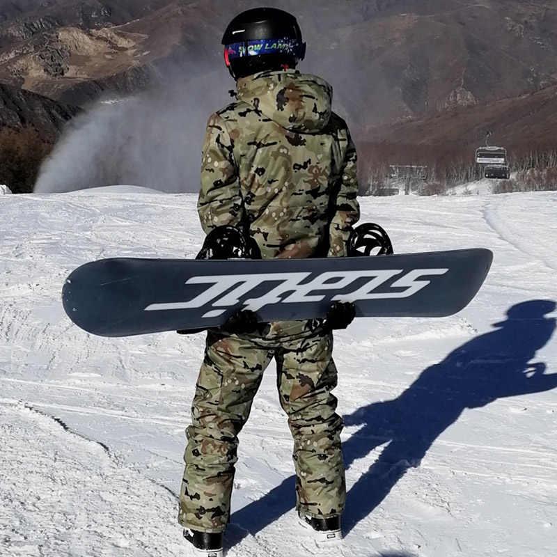 -30 Camouflage männer Schnee kleidung Ski anzug sets spezialität snowboarden sets Wasserdichte dicker baumwolle Schnee jacken und hosen