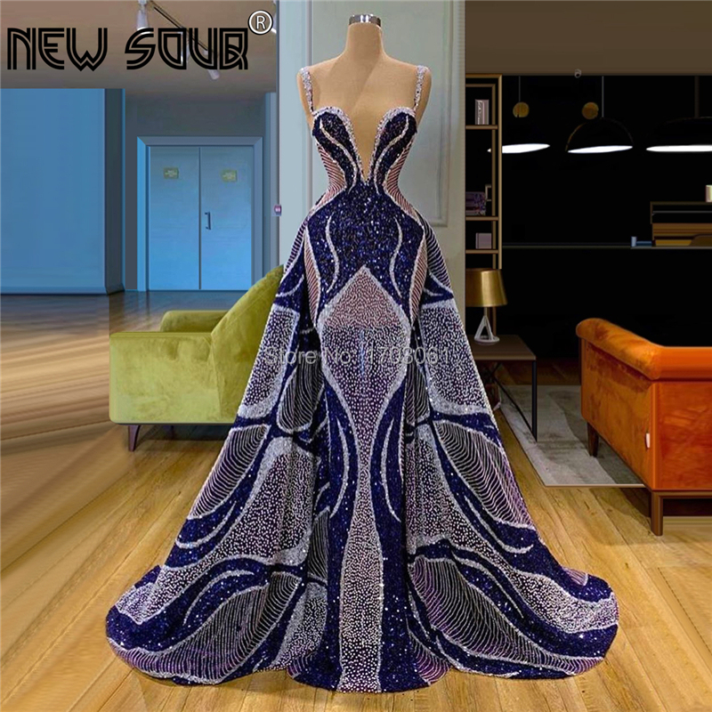 Saudi Arabic Strapless Kaftan Illusion Evening Dress Transparent Beaded Party Gowns Islamic Hot Sale Mermaid Prom Dresses Muslim