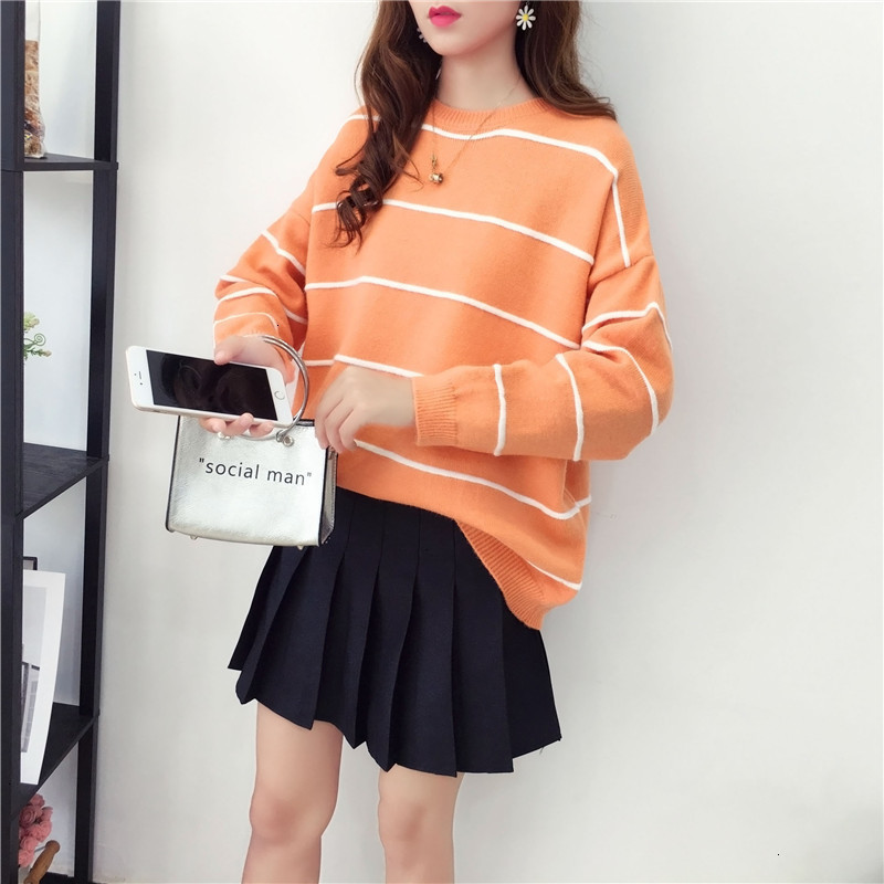 Stripe Simple Pull Femme O-Neck Young Knitted Sweater Pullover Autumn Knitwear Sueter Mujer Long Sleeve   Winter Women New 2019