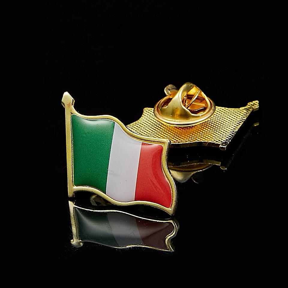 Italy Wave 3D Flag Brooch Gold Pin Badge Bag Italian Flags Clothes/Bag Lapel Pin Brooch