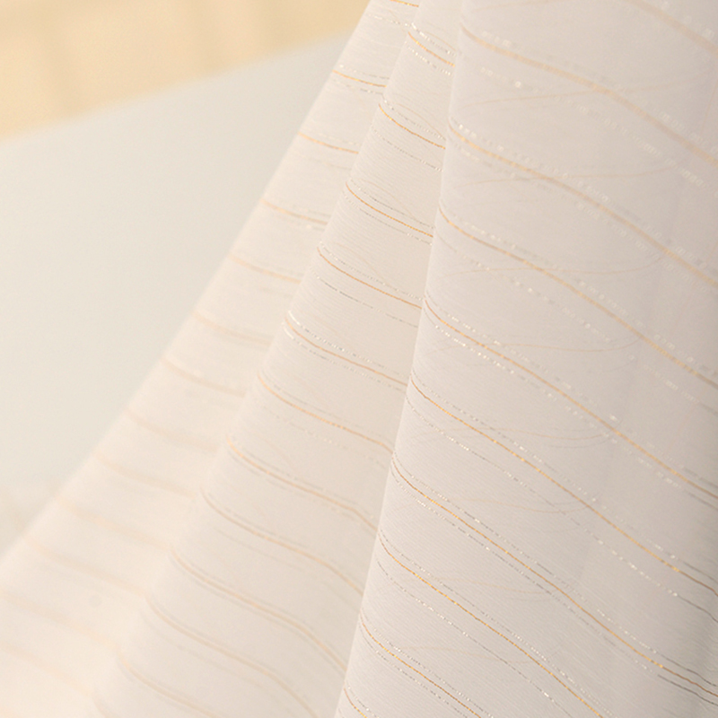Gold And Silver Thread Beauty Rice White Texture Chiffon Fabric
