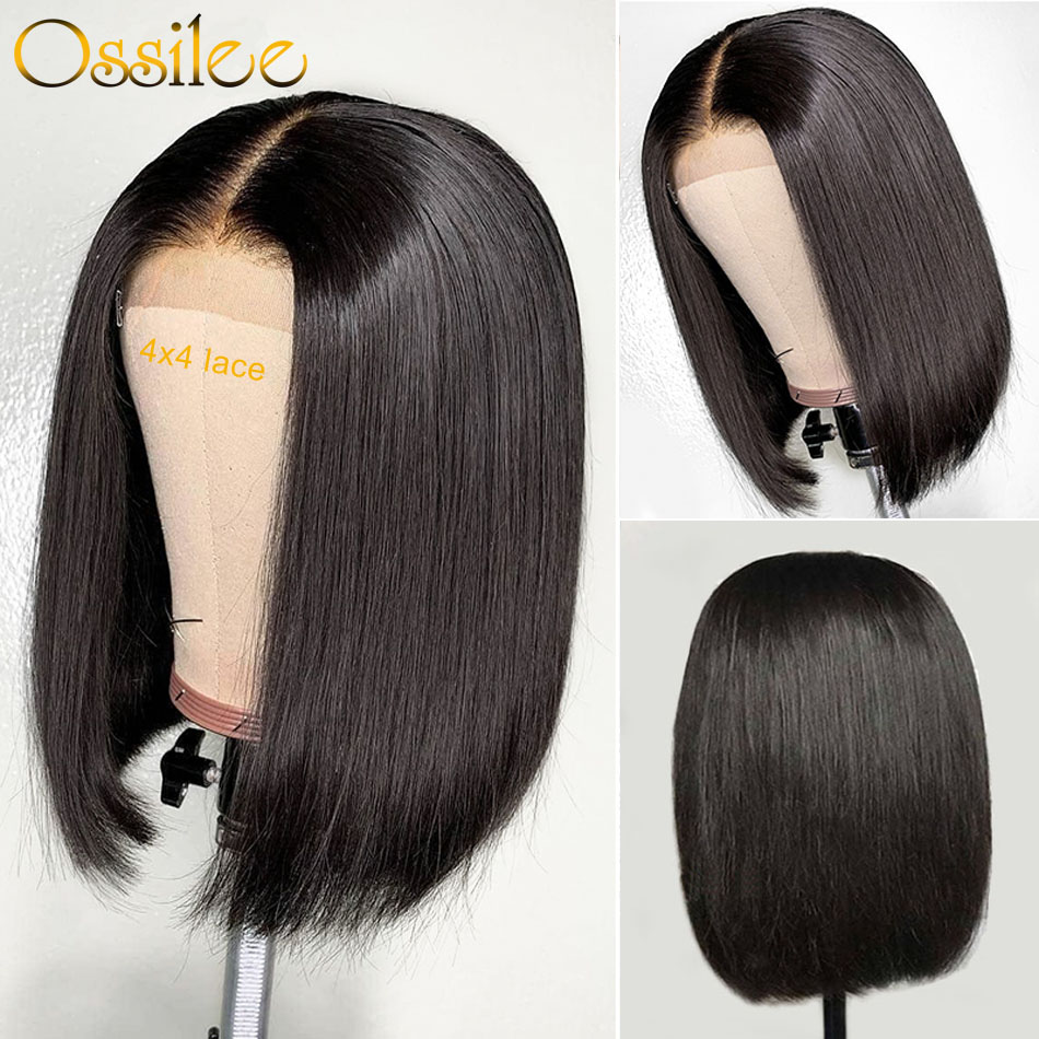 Closure Wig Human-Hair-Wigs Lace-Frontal Pre-Plucked 4x4