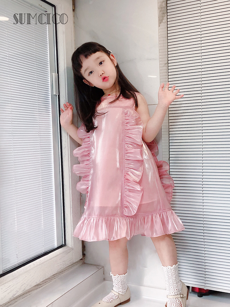 Sumcico 2020SS Latest Girl's Organza Dress Sweet Style Toddler's Pink Ruffles Dress Age2-15Y