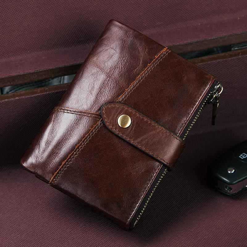 KAVIS تتفاعل 100% جلد أصلي للرجال محفظة محفظة نسائية للعملات المعدنية محفظة الذكور Portomonee المال حقيبة جودة مصمم حامل بطاقة صغيرة