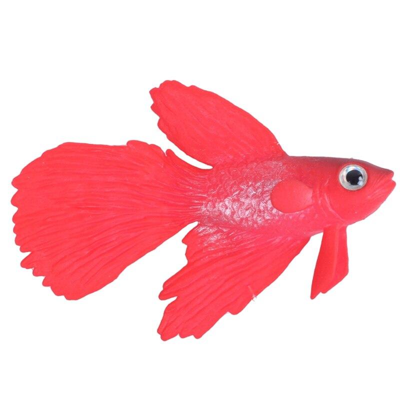 Silicone Aquarium Suction Cup Emulational Artificial Fish Ornament Red