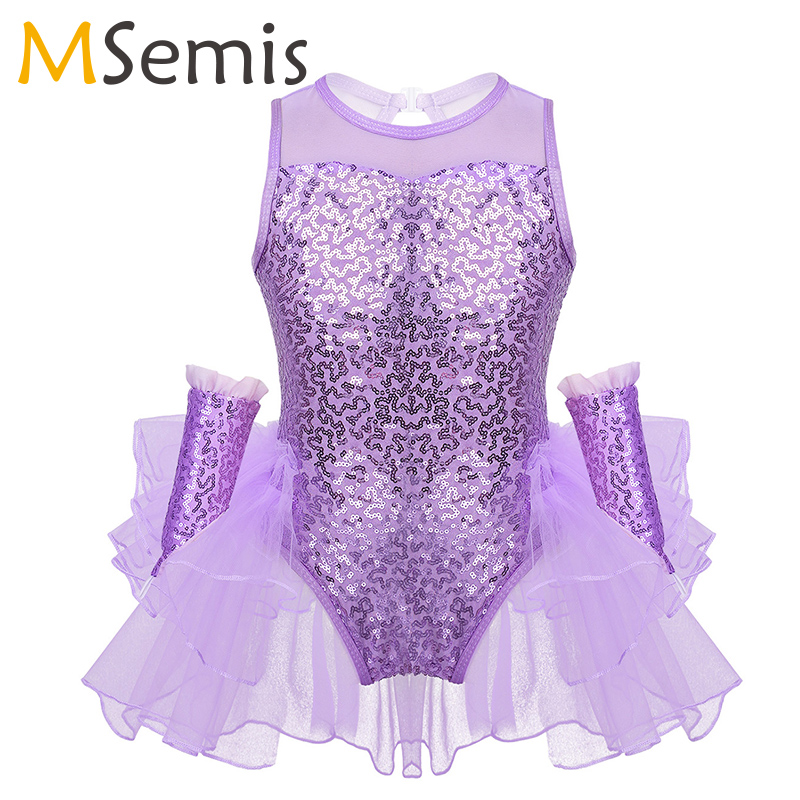 Girls Jazz Costume Shiny Sequins Tulle Splice Figure Ice Skating Dress Leotard Ballet Dress Ruffled Mesh Dress Child Dance Wear