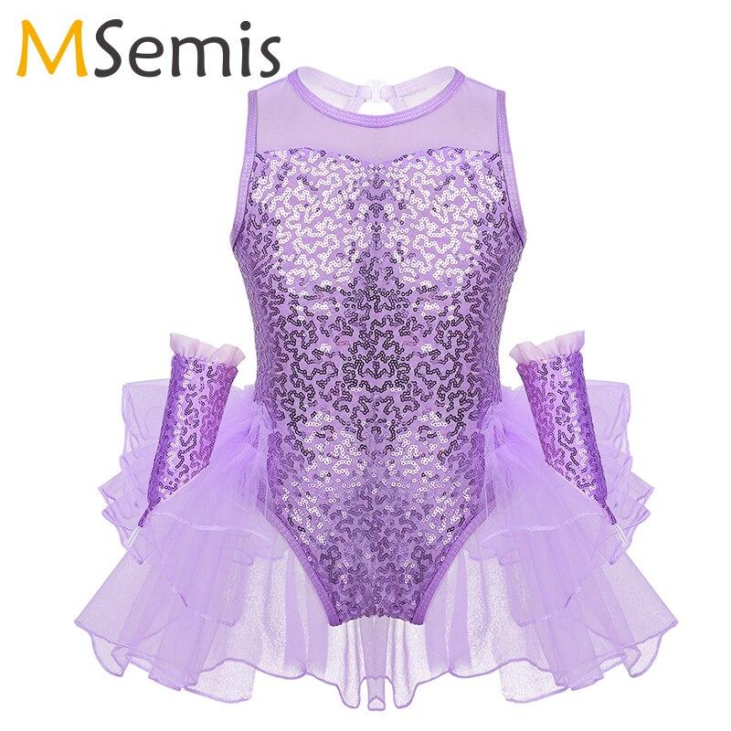 Girls Jazz Costume Shiny Sequins Tulle Splice Figure Ice Skating Dress Leotard Ballet Dress Ruffled Mesh Dress Child Dance Wear