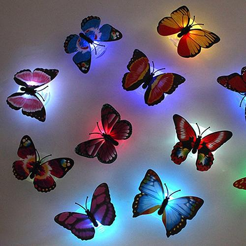 1pc 7 Color Changing Beautiful Creative Cute Butterfly LED Night Light Home Room Desk Wall Decor Decorative Lights