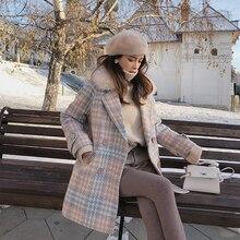 VZFF 2019 Vrouwen Jas bovenkleding winter kleding mode warme wollen blends vrouwelijke elegante Double Breasted jas
