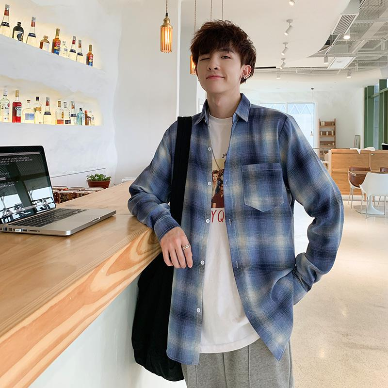 2019 Spring Autumn Flannel Men Plaid Shirt Long Sleeve Men's Warm Casual Shirts British Cotton Mens Check Shirt Streetwear