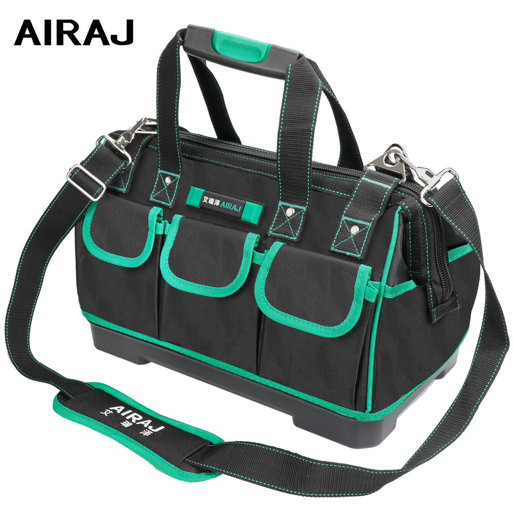 AIRAJ 13/16/18/20 Inch New Tool Bag, Large Capacity Waterproof Electrician Bag Plastic Bottom Men's Oblique Bag Tool