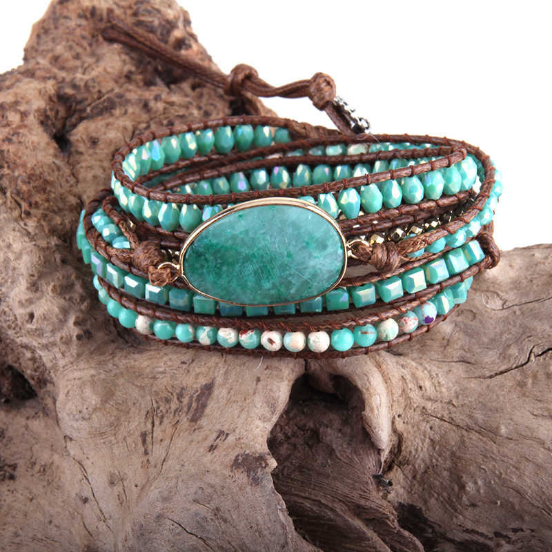 RH אופנה עור Boho Armbander ירוק מעורב טבעי אבנים קסם 5 גדילים חרוזים גלישת צמידי DropShipping