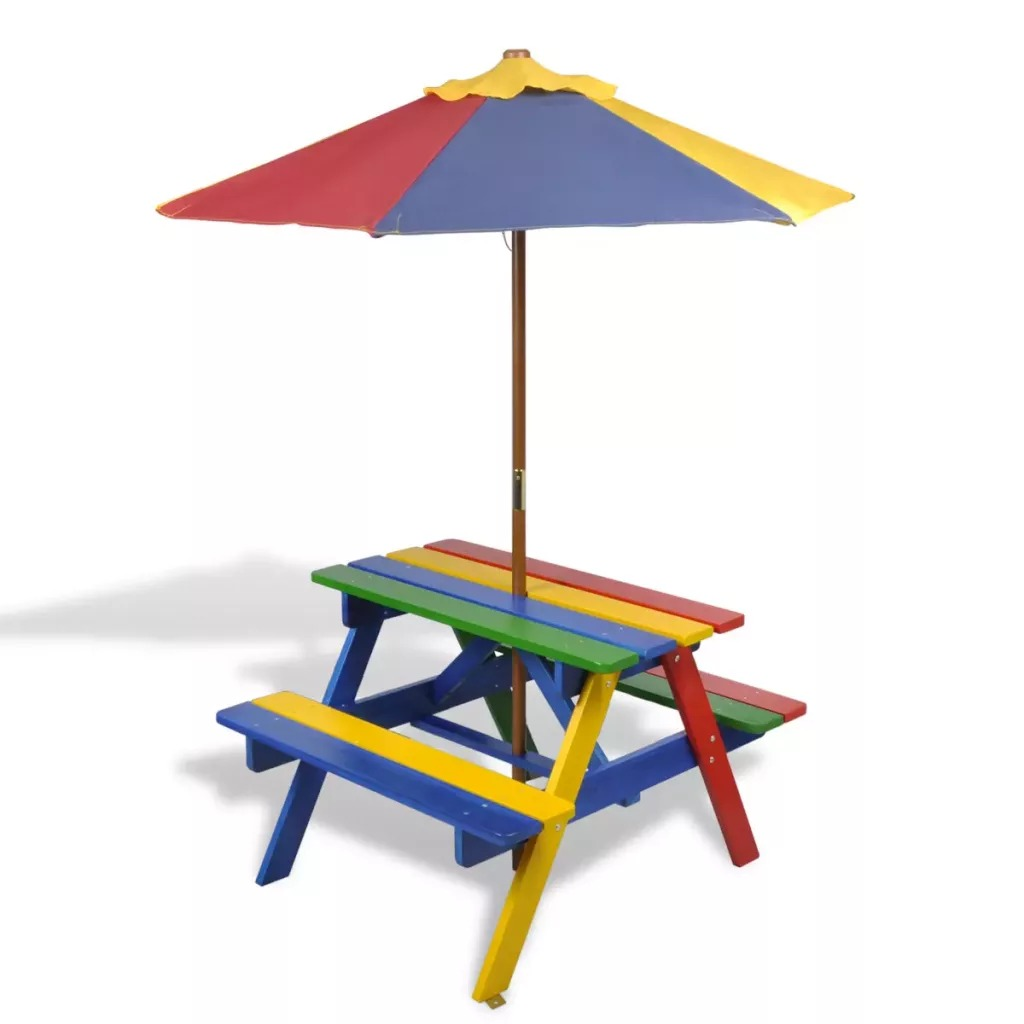 VidaXL 2 In 1 Kids Picnic Table &Amp; Benches With Parasol In Four Colours 75 X 85 X 52 (L X W X H) Cm For Domestic Use