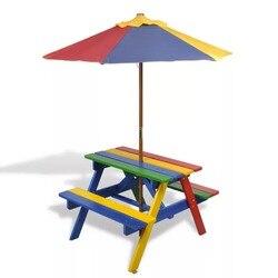 VidaXL 2 In 1 Kinder Picknick Tisch Bänke Mit Sonnenschirm In Vier Farben 75X85X52 Cm Für inländischen Verwenden Kinder Möbel
