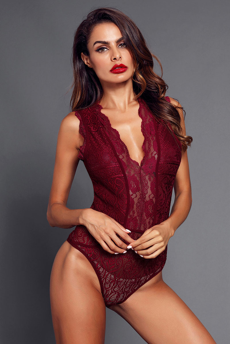 Red-V-Neck-Hollow-out-Lace-Bodysuit-LC32247-3-5