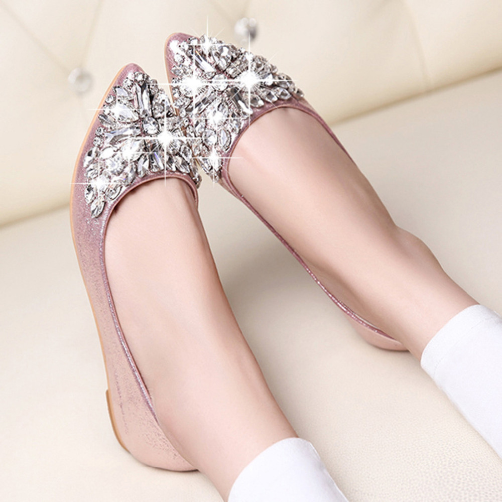 Fashion women Ballet shoes leisure spring pointy ballerina bling Rhinestone