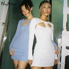 Hugcitar 2020 Бандажное сексуальное мини-платье с длинным рукавом, осенне-зимнее женское модное уличное голубое милое платье для малышей