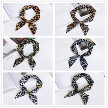 2020 New Style Leopard Small Silk Scarf Neckerchief Women 's Tied Bag Wrapped Handle Ribbon All -match Wrist