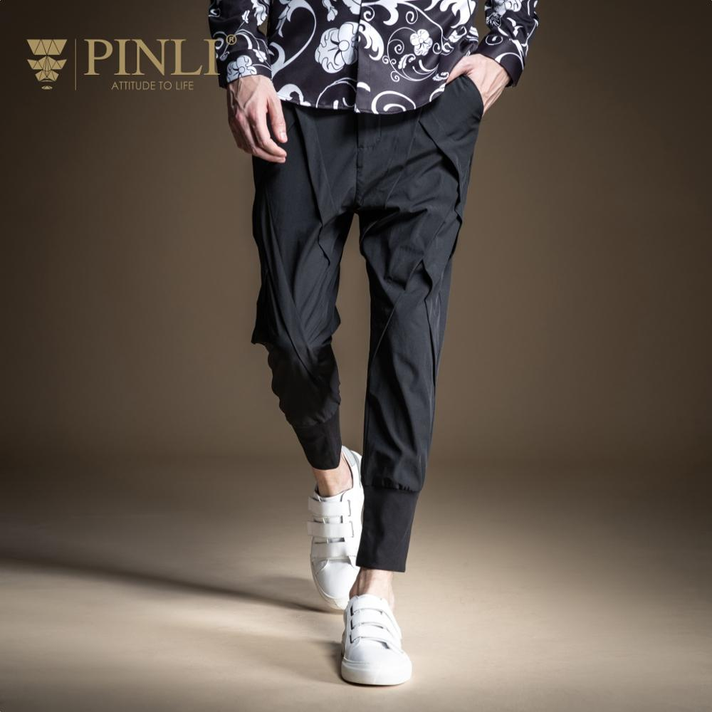 PINLI 2020 Spring New Slim Original Design Micro Frill Elastic Beam Feet Youth Casual Trousers Men's Cropped Pants B201117195