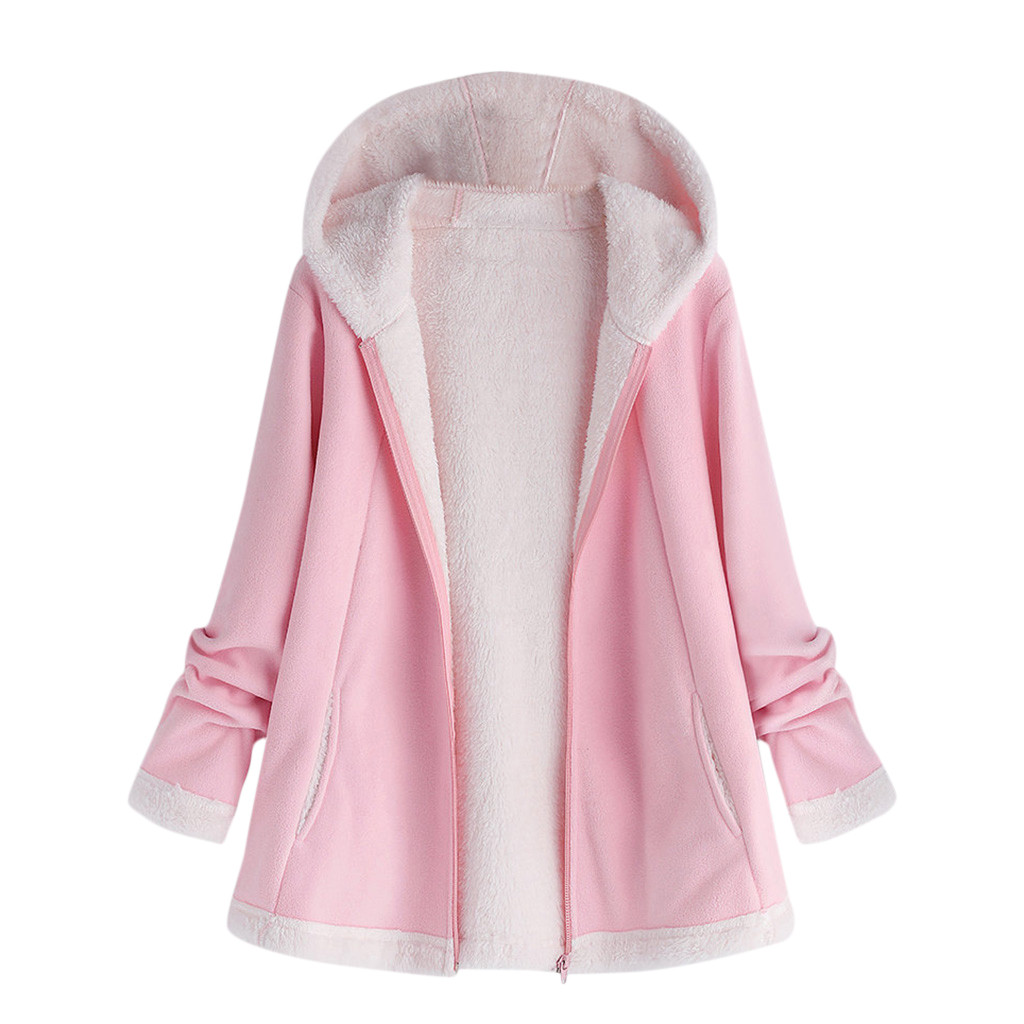 Women's Autumn Jacket Winter Warm Solid Plush Hoodie Coat Fashion Pocket Zipper Long Sleeves Outwear Manteau Femme Plus Size