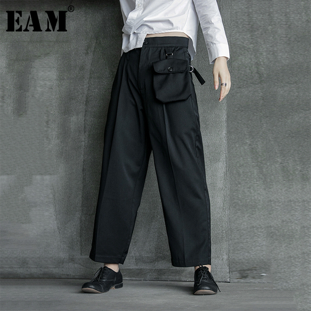 [EAM] High Waist Black Pocket Suit Long Trousers New Loose Fit Pants Women Fashion Tide All match Spring Autumn 2020 1B209