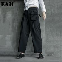 [EAM] גבוהה מותן שחור כיס חליפת ארוך מכנסיים חדש Loose Fit מכנסיים נשים אופנה גאות כל התאמה אביב סתיו 2020 1B209