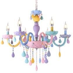 LukLoy Macaron kryształ wiszące lampy dla dzieci romantyczny zwykłe kryształki żyrandol kreatywny pokój dziecięcy nowoczesne oprawy oświetleniowe