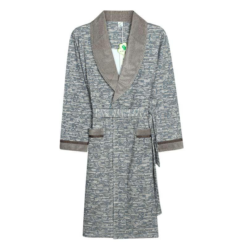 Men Long Sleeve Collar Wrap Belted Coral Fleece Stripe Warm Robe Bathrobe