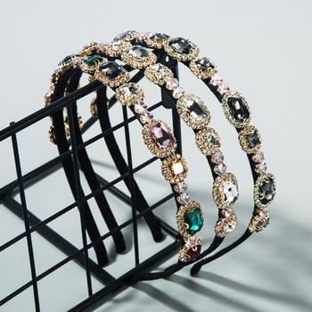 New Luxury Rhinestone Headband Baroque Colorful Crystal Handmade Hair Band Women Party Accessories