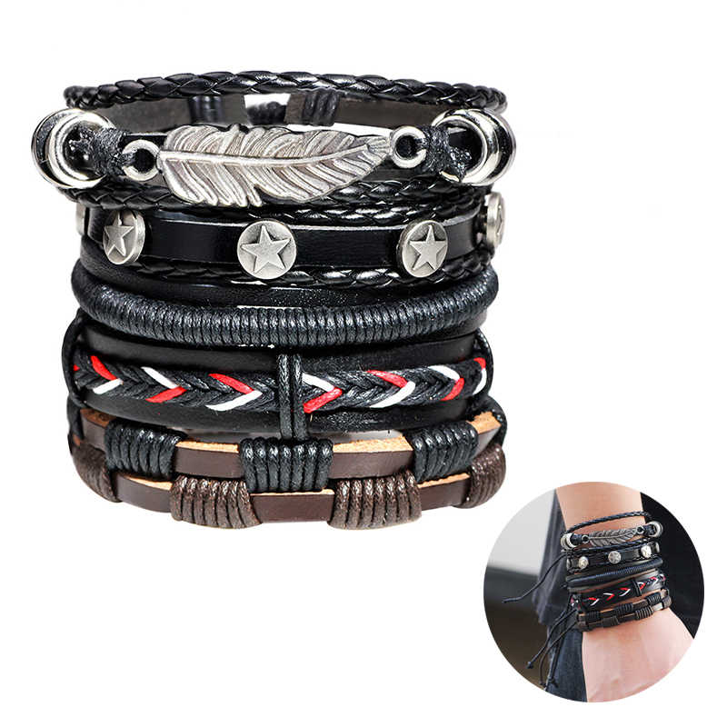 Vintage Leaf Feather Charm Leather Bracelet Set for Men Women Classic Multilayer Handmade Braided Rope Bracelets Bangles Jewelry