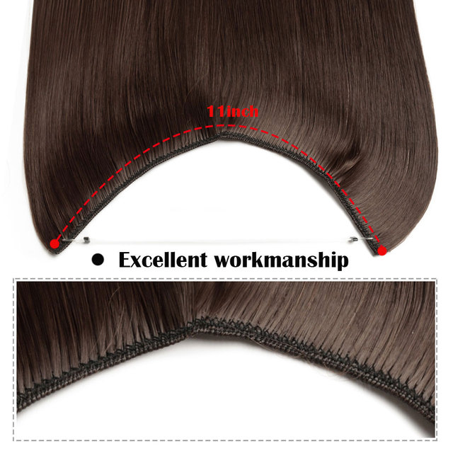 Snolilite 24 pouces de long droit retourner dans lextension de cheveux Invisible fil pas de pince une pièce Halo cheveux synthétique postiche pour les femmes
