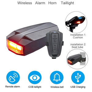 Image 2 - Wireless Electric Cycling Bell light Bicycle Alarm Light Cycling Taillight horn LED Anti theft Remote bike Accessories