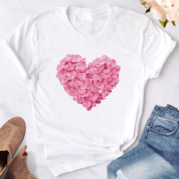 2019 New Pink Heart Flower Print Women T Shirt Summer White Casual Sweet Tops Tees Gift For 90s Lady Yong Girl Woman Clothes