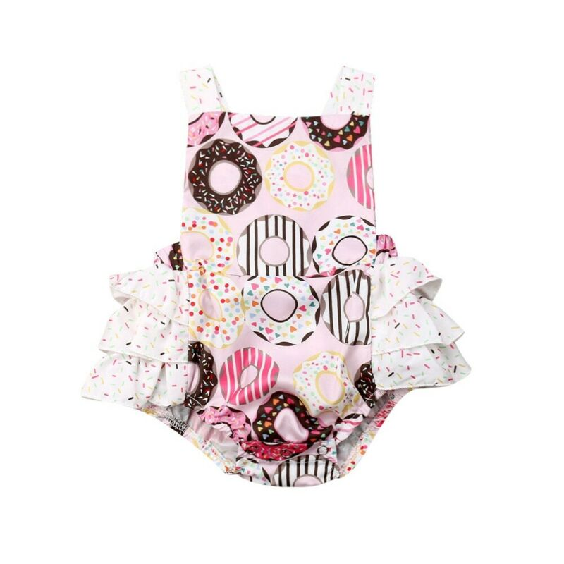 0-24M Newborn Baby Girls Ruffles Rompers Donut Sleeveless Belt Jumpsuit Summer Baby Girls Costumes Overalls Clothes