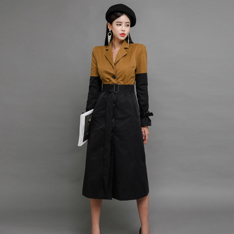 2019 Autumn Woman Long   Trench   Adjustable Waist Turn-down Collar Single Breasted Patchwork Slim Office Vintage Casual Lady Coat