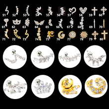 1PC Steel Crystal Ear Tragus Cartilage Piercing Moon Star Earring Conch Stud Helix Jewelry