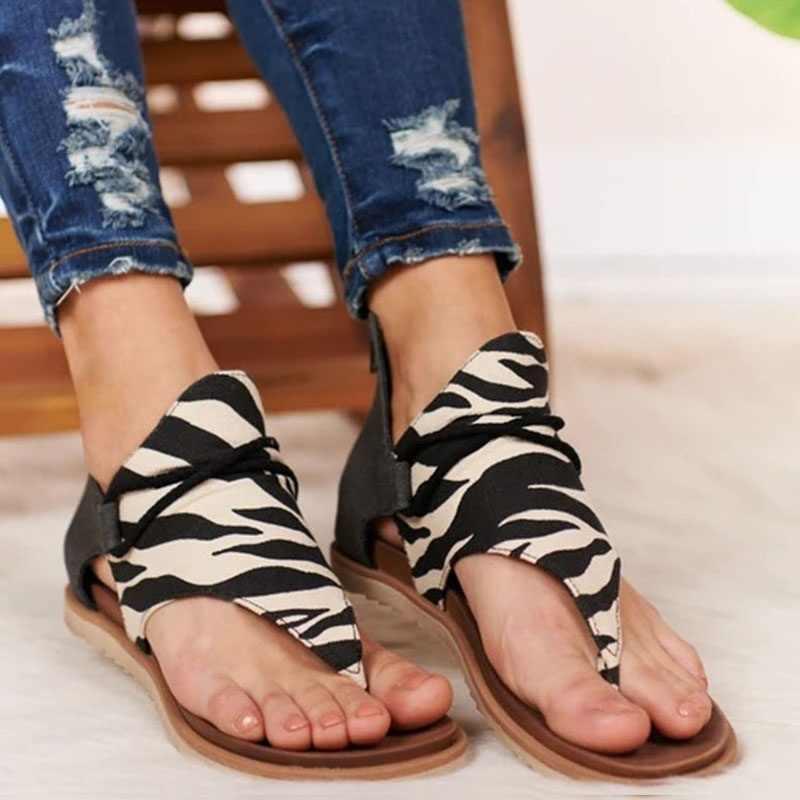 Fashion Wanita Sandal Leopard Pola Sepatu Wanita Ukuran Besar Roma Sandal Wanita Hot Menjual Wedges Sepatu Musim Panas