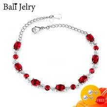 BaliJelry bransoletka damska srebro 925 biżuteria Ruby Sapphire ametyst bransoletka z kamieniami szlachetnymi 2020 wesele przyjęcie zaręczynowe komponent