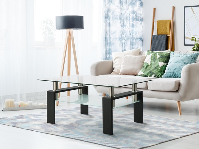 Living Room Furniture Double Layer  Rectangle Glass Coffee Table Clear Home Furniture Side Table Coffee Table For Living Room 1