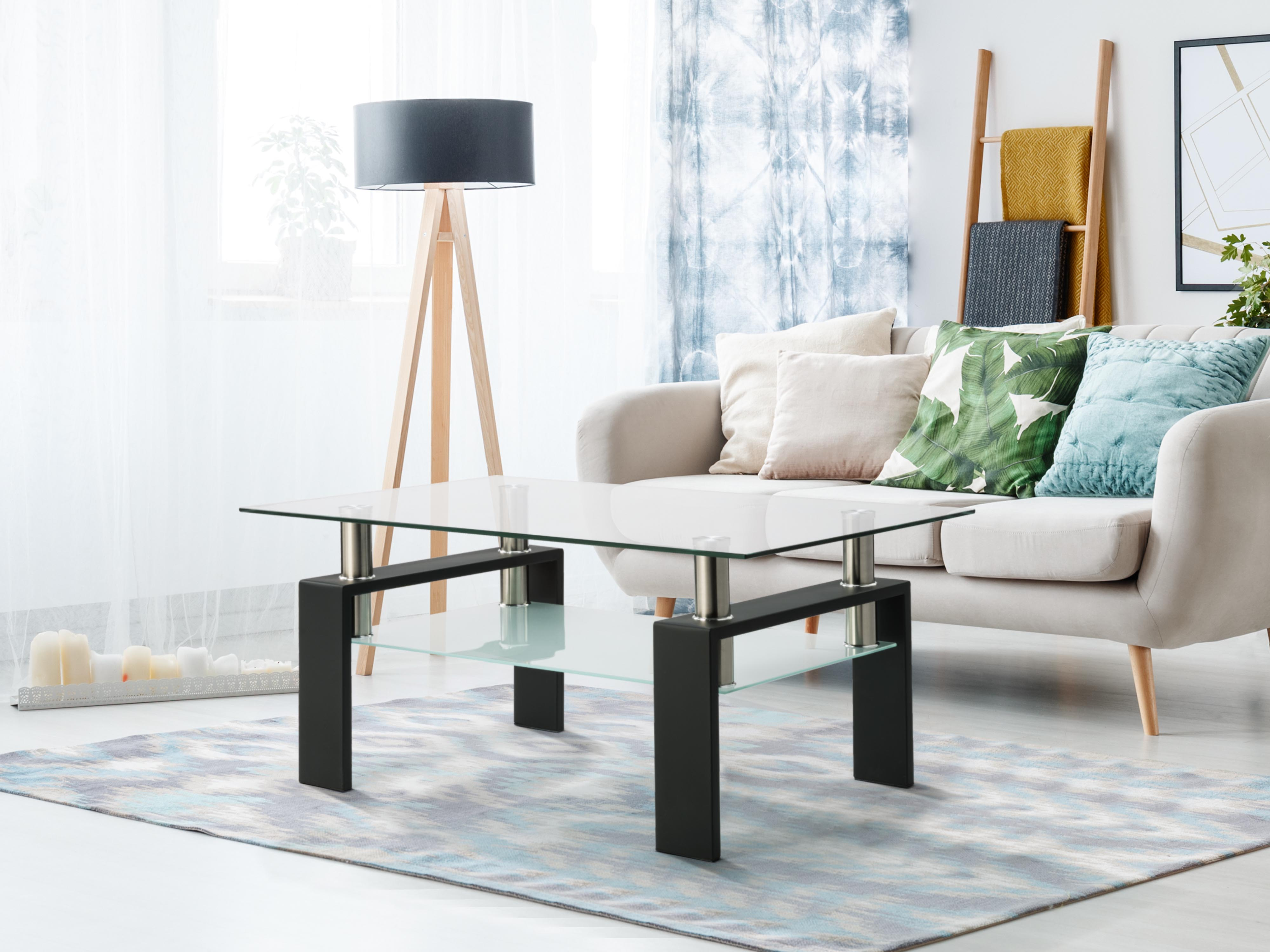 glass coffee table living room double layer square rectangle clear tea table modern side center tables for house furniture