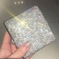 Colorful Shiny Crystal Diamond Ms 20 Cigarette Case Slim Metal Portable Double Sided Rhinestone Cigarette Box Set Girl Gift